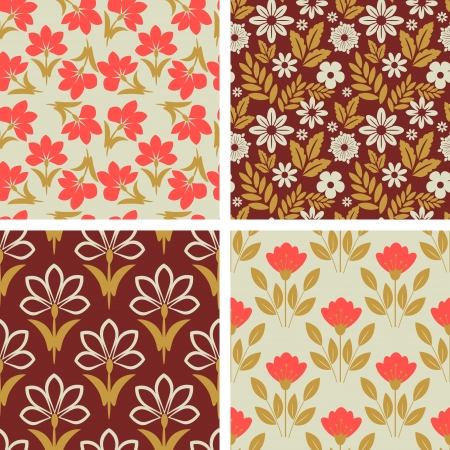 Seamless patterns with decorative floral pattern Vector