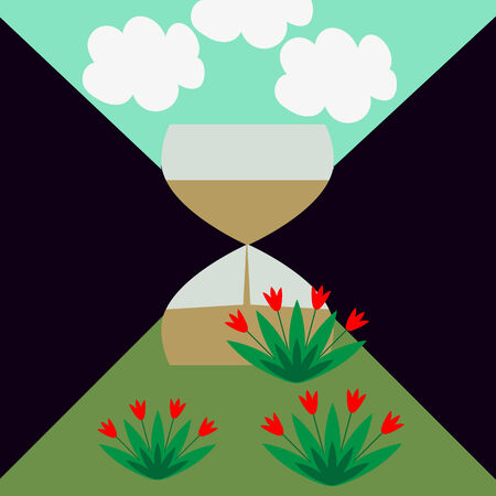 Sandglass ilustracja skay i ziemi Ilustracje wektorowe