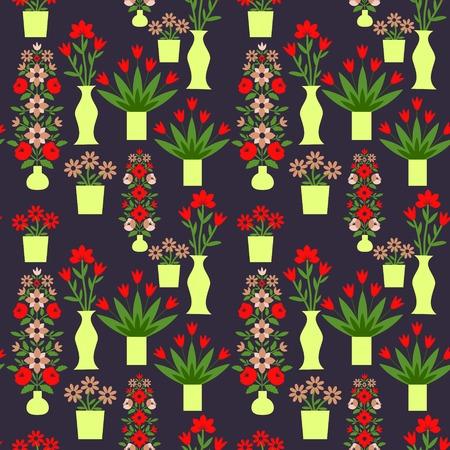 Patr�n sin fisuras con flores decorativas Vectores
