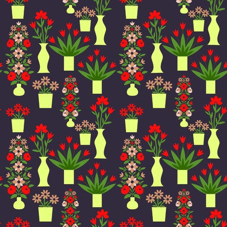 Seamless pattern with decorative flowers Vector