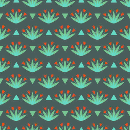 Seamless floral pattern  with red flowers