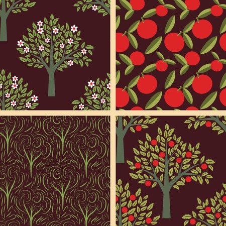 Seamless patterns with fruits and trees Vector