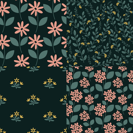 Seamless patterns with decorative flowers Vector