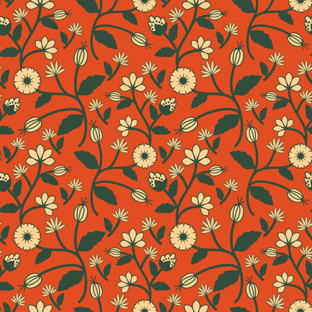 Seamless decorative ethnic floral pattern Vector