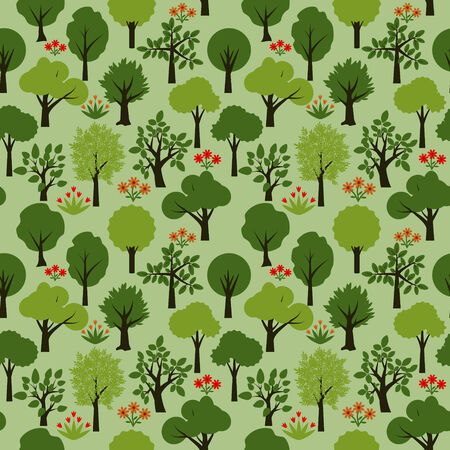 Seamless pattern with decorative trees Vector