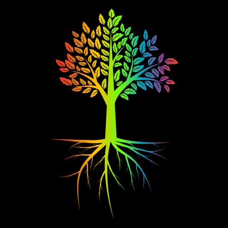 mystique: Tree with root rainbow ilustration