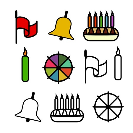 holiday icons: Holiday icons coloured and contour Illustration
