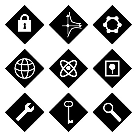 Black and white icons with different symbols Vector