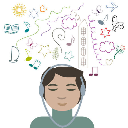 Boy listening music and dreaming Vector