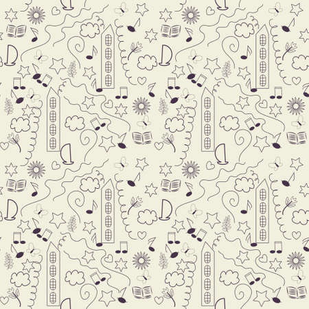 Seamless pattern with various signs Vector