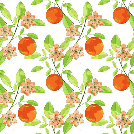 Seamless pattern with fruits amd flowers Vector