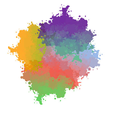 transition: Vector paint drops with color transition Illustration
