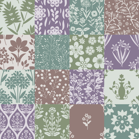 Seamless patterns with floral ornament Vector