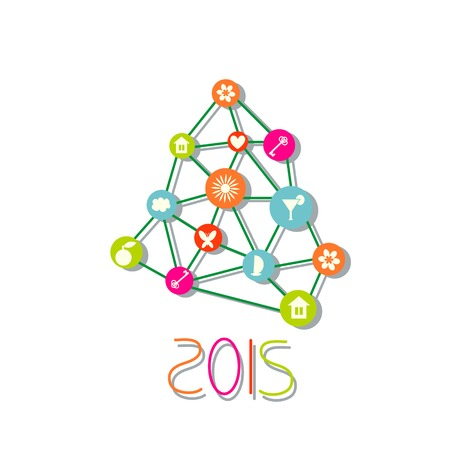 New year tree polygon style Vector