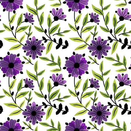 Seamless pattern with floral decor Vector