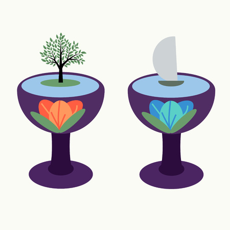 statics: Abstraction with two goblets with tree and yacht