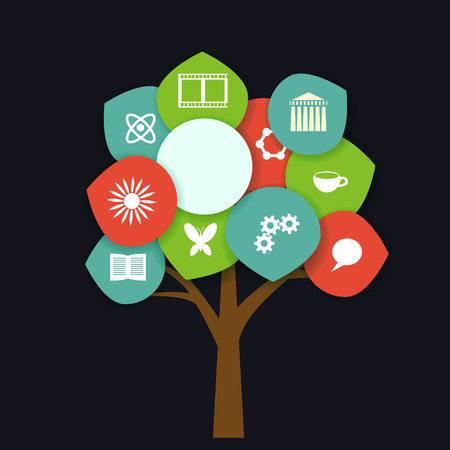 Tree with education icons set