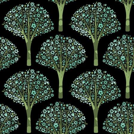 flowering: Seamless pattern with flowering trees