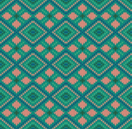 Seamless pattern with knit ornament