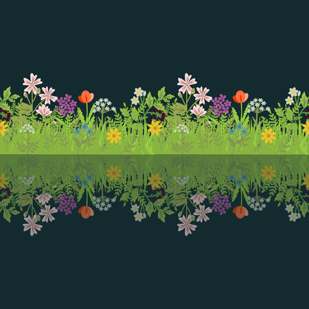 Floral frame with seamless field and reflection Vector