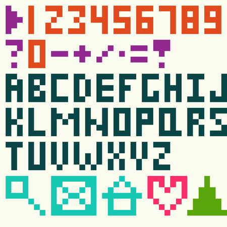 exclamatory: Alphabet and numbers pixel art style