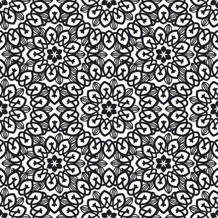 Seamless pattern with round ornament Vector