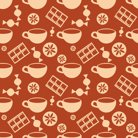 Seamless pattern with candies and cups