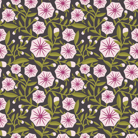 convolvulus: Seamless pattern with decorative flowers