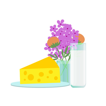 flower bunch: Millk and cheese illustration with flower bunch