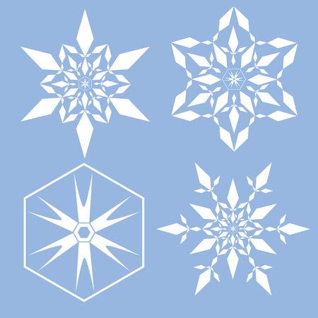 snoflake: Snowflake set decorative geometric style Illustration