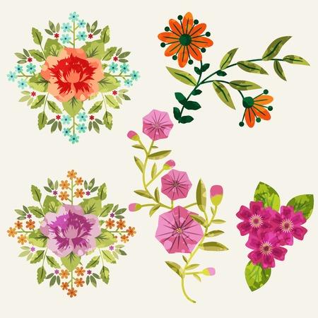convolvulus: Flowers set with paint imitation overlay, isolated elements