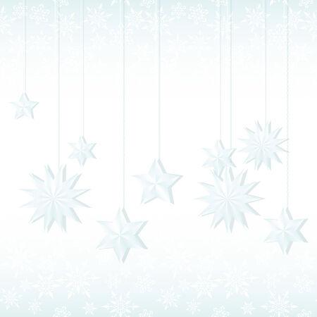 snoflake: New year card with hanging stars Illustration