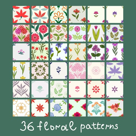 36 simple floralpatterns collection Vector
