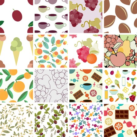 Patterns set with different food items Vector