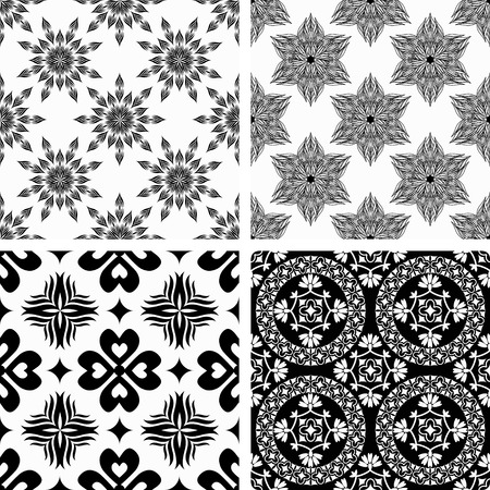 Seamless patterns with decorative ornament Vector
