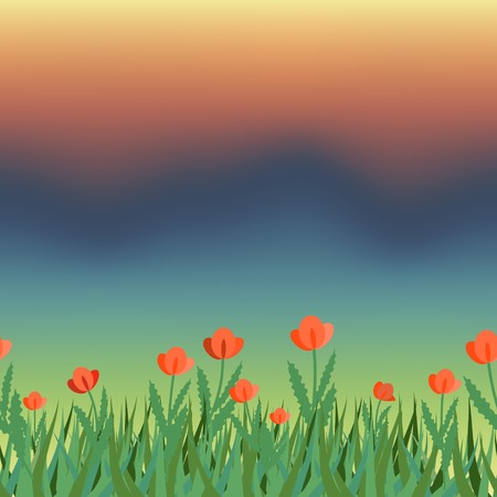 steppe: Flowering field and storm sky Illustration