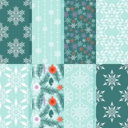 Seamless patterns with snow flakes and new year ornament Vector