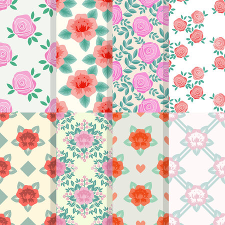 Patterns set with decorative red and pink roses Vector