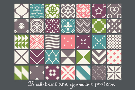35 simple abstract patterns set Vector