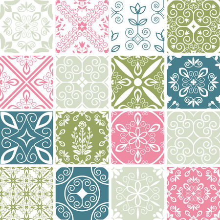 Patterns set with abstract flourish ornament Vector