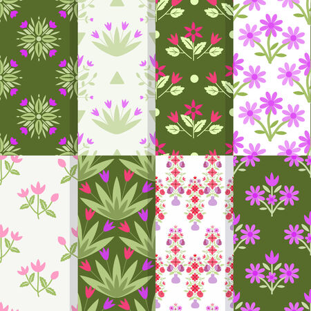 Seamless patterns with decorative flower bunches ornament Vector