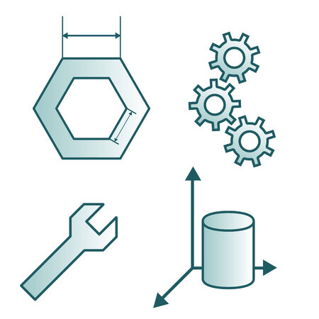 drafting: Construction simple icons, spanner, drafting, gears