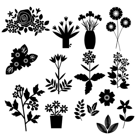 Flowers set black and white Vector