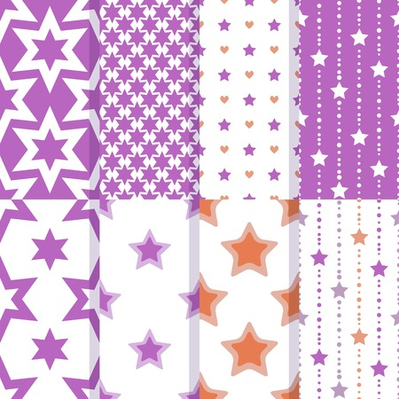 Seamless patterns with decorative stars Vector