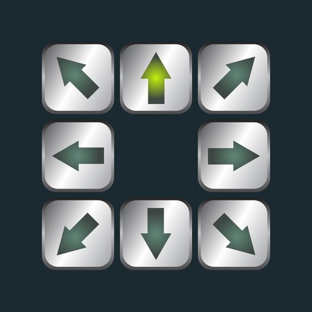 top pointer: Arrows on metal buttons set