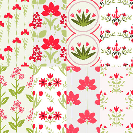 Seamless patterns with decorative flowers Illustration
