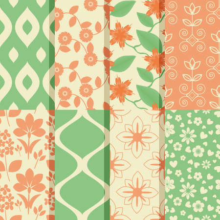 Seamless patterns with floral  amd abstract  ornament Vector