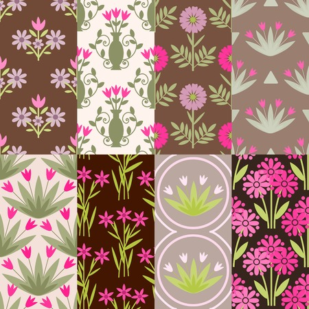 Seamless patterns with flowers ornament Vector
