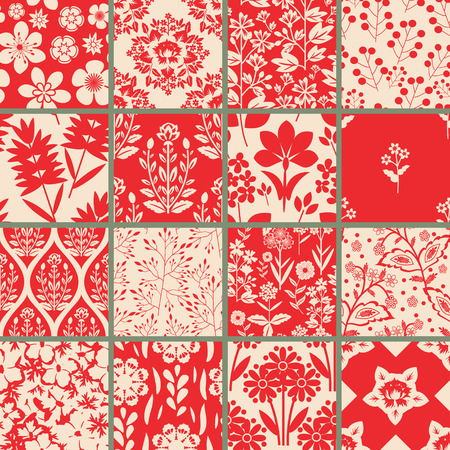 Seamless patterns with decorative floral ornament