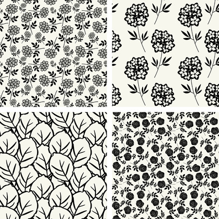 Seamless patterns with decorative floral ornament Vector
